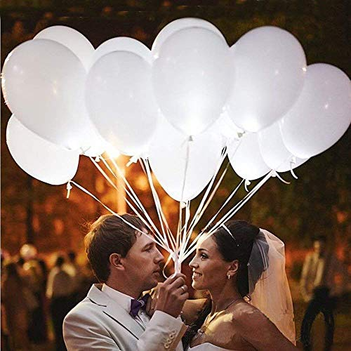 White Light Up Balloons (20 LED Balloons Non Flashing Light Up Glow in Dark Party Birthday Halloween)