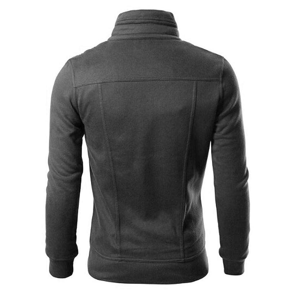 Tomatoa Herren Mantel Sweatshirt Streetwear Langarmshirt Zipper Coat Trenchcoat Sweatjacke Cardigan Reißverschluss Stehkragen Bomberjacke