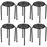 Set of 6 Stackable Metal Stool Set Daisy Backless Round Top Kitchen Black