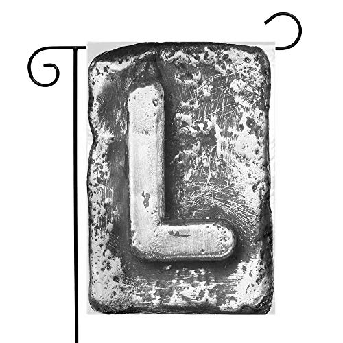- Mannwarehouse Letter L Garden Flag Typography Composite L Alphabet Letter Name Baroque Knights Iron Words Writing Design Premium Material W12 x L18 Grey