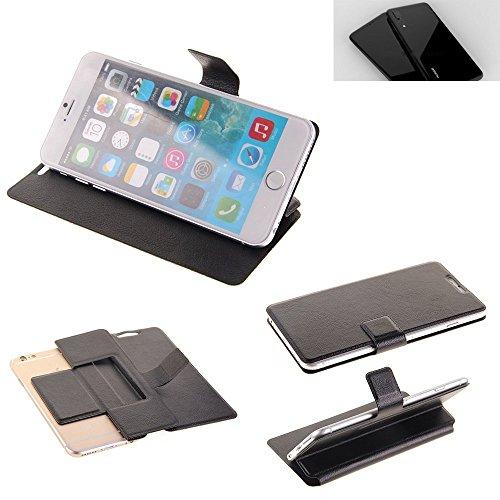 Caso de protección cubierta del tirón para Huawei P20 Plus, negro | estilo del libro cartera cubierta delgada - K-S-Trade (TM)