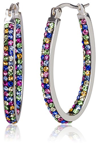 (Carly Creations Silver Plated Genuine Crystal MultiColored Hoop Earring)