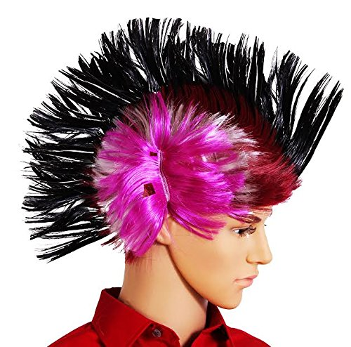 dazzling toys Halloween Fake Wig Massive Wiggling Punk Black Colored Wig Adults, Teens Kids.