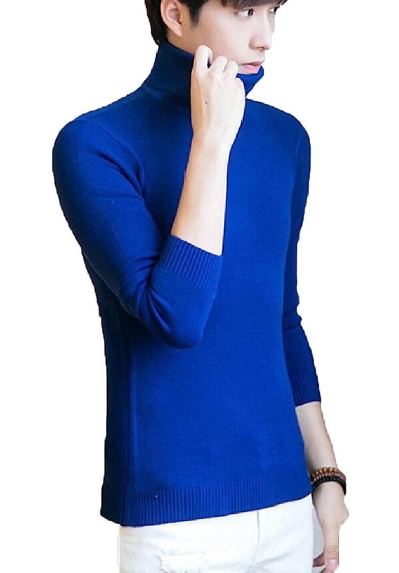 Jaycargogo Men's Warm Slim Cashmere Turtleneck Long Sleeve Pullover Sweater