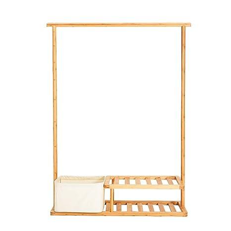 Amazon.com: MEIDUO - Perchero de bambú para ropa con caja de ...