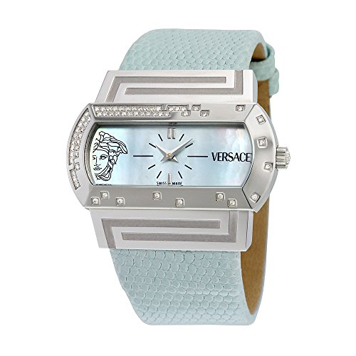 Versace Hippodrome Mother of Pearl Dial Diamond Blue Leather Ladies Watch PSQ91ND535 SL35