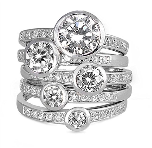 Stackable Bezel Round White CZ Wedding Ring Set .925 Sterling Silver Size 7 (RNG21242-7)