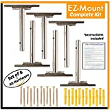 EZ-Mount Floating Shelf Brackets | Complete Hardware Kit for Easily Mounting Wooden, Custom & DIY Shelves (6 Pack) Adjustable Hidden Blind Supports for Concealed, Invisible Shelving | Heavy Duty