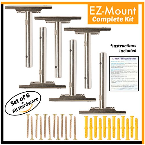 Wooden Hardware - EZ-Mount Floating Shelf Brackets | Complete Hardware Kit Easily Mounting Wooden, Custom & DIY Shelves (6 Pack) Adjustable Hidden Blind Supports Concealed, Invisible Shelving | Heavy Duty