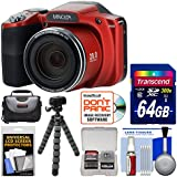 Minolta MN35Z 1080p 35x Zoom Wi-Fi Digital Camera (Red) with 64GB Card + Case + Flex Tripod + Kit