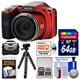 Minolta MN35Z 1080p 35x Zoom Wi-Fi Digital Camera (Red) with 64GB Card + Case + Flex Tripod + Kit
