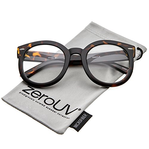 zeroUV - Oversize Thick Arms Round Clear Lens Horn Rimmed Eyeglasses 53mm (Tortoise/Clear)