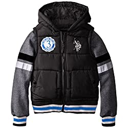 U.S. Polo Association Big Boys' Bubble Vest with Fleece Sleeves