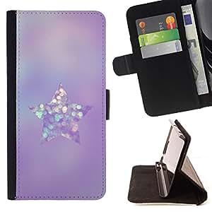 """Bright-Giant (Púrpura Brillante cristal de diamante de la estrella"""") Modelo Colorido Cuero Carpeta Tirón Caso Cubierta Piel Holster Funda Protección Para Apple iPhone 5 / iPhone 5S"""