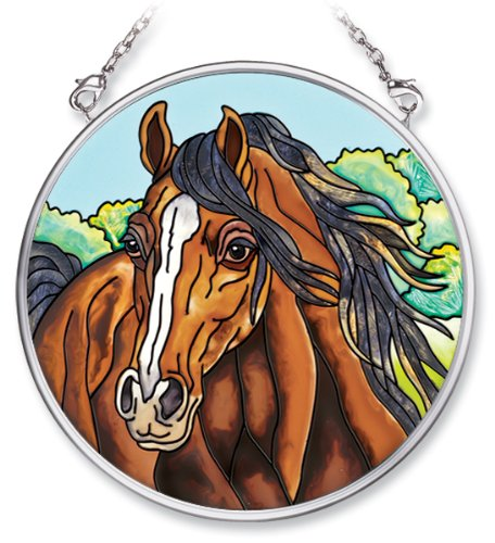 Amia Hand Painted Glass Suncatcher with Horse Design, 3-1/2-Inch ()