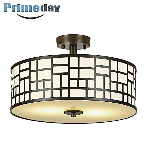 SOTTAE Elegant 2 Lights Glass Diffuser Black Livingroom Bedroom Flush Mount Ceiling Light, Ceiling Lamp Fixture(15.74