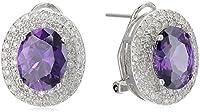 ELYA Jewelry Womens Sterling Silver Amethyst Purple Oval Cubic Zirconia Double Halo Drop Earrings, White/Purple, One Size