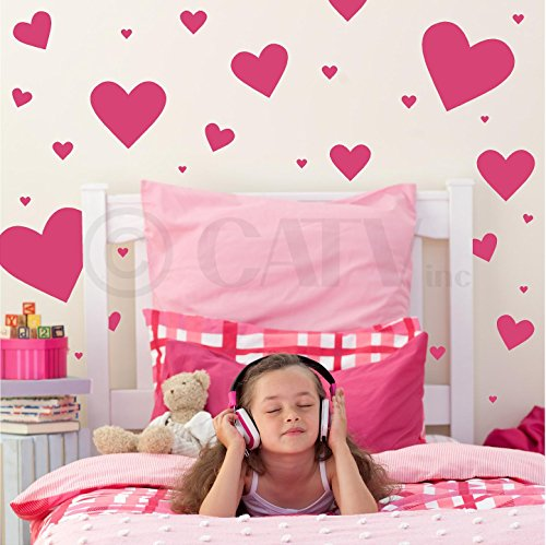 Hearts assorted set of 50 vinyl decals (Dark Pink) ()