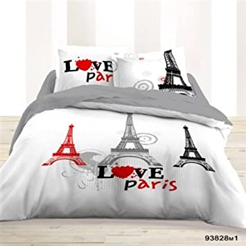 bc6986e3a6b01 Housse de Couette 220x240 + 2 taies LOVE PARIS - Les Douces Nuits de ...