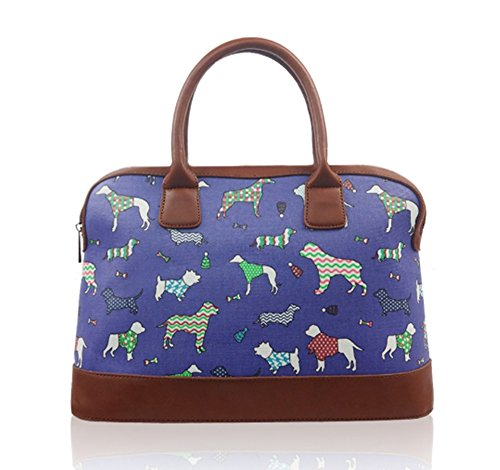 Medium Sized Purple Oicloth Bowling Handbag with Dogs pattern
