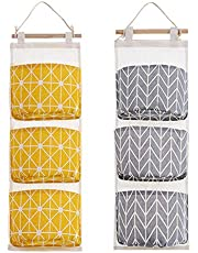 Wall-Mounted Storage Bag 2 Packs of 3-Bag Door Organizer Linen Cotton Fabric Hanging Storage Bag Suitable for Room and Bathroom (Yellow + Gray)