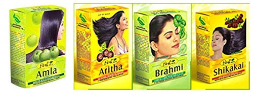 Hesh Herbal Amla Powder 100G, Brahmi Powder 100G, Shikakai Powder 100G, Aritha Powder 100G - 1 Complete Hair Care Combo Pack ()
