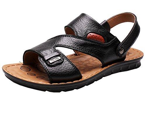 Vocni Mens Open Toe Casual Leather Comfort Shoes Sandals Open Toe Shoes For Men Black YsGVxpi