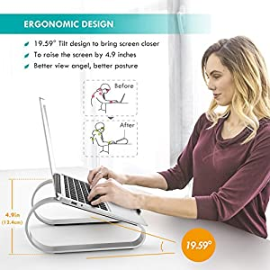 Laptop Stand - Anypro Aluminium Notebook Stand Laptop Computer Stand for Laptop, Notebook Computer Stand Laptop Holder Notebook Support for Apple MacBook/ MacBook Pro/ Air/ HP, 10-17in Laptops- Silver