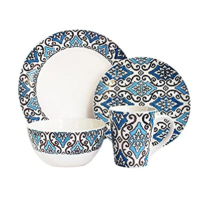 American Atelier 16 Piece Metallic Round Dinnerware Set, Blue/Gold - Material: stoneware Dinner plate: 11 inches, Salad plate: 8.5 inches Bowl diameter: 7 inches - kitchen-tabletop, kitchen-dining-room, dinnerware-sets - 51 2nxKhtiL. SS400  -