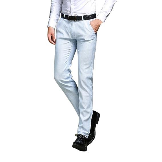Zhhlinyuan Pantalones de Traje para Hombre Slim Casual Oficina ...