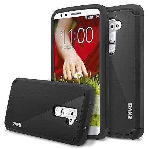 LG G2 Case, RANZ Black Hard Impact Dual Layer
