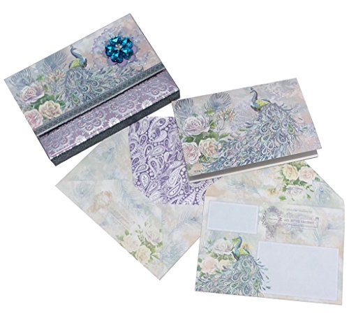 Punch Studio Silvery Peacock Foil Embellished Blank Note Cards in Keepsake Brooch Portfolio Box 61639