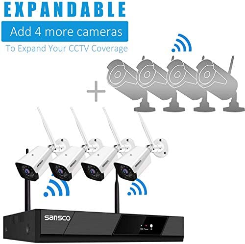 [Expandable, Audio] SANSCO 1080P Wireless Security Camera System, 8CH DVR 4Pcs 2MP HD CCTV WiFi Outdoor/Indoor Waterproof Camera with Mic, Night Vision, Motion Alert, Remote Access, No Hard Disk 51 2oNn3U6L