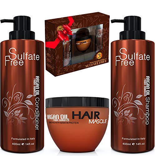 Moroccan Argan Oil Shampoo Conditioner and Hair Mask | Sulfate Free Gift Set Best for Damaged, Dry, Curly or Frizzy Hair…