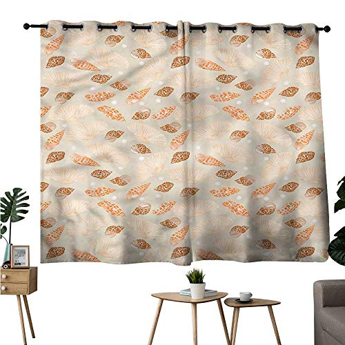 (Beihai1Sun Printed Darkening Curtains Grommets Curtain for Living Room Pearls,Seashells and Oysters Marine Set of 2 Panels W72 x)