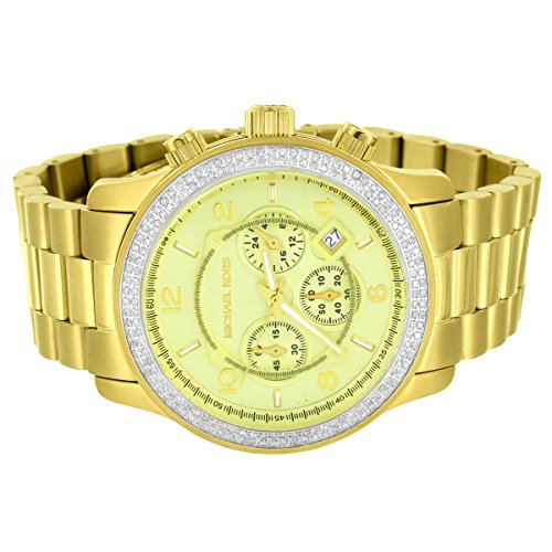 Michael Kors Gold Tone 45mm Stainless Steel Watch Custom Real Diamonds 1.50 Carat