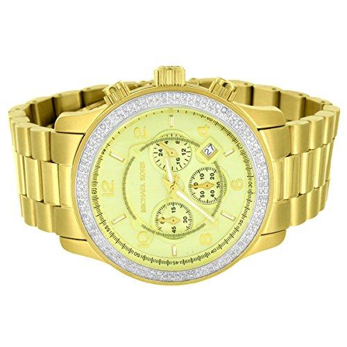 Michael Kors Gold Tone 45mm Stainless Steel Watch Custom Real Diamonds 1.50 Carat