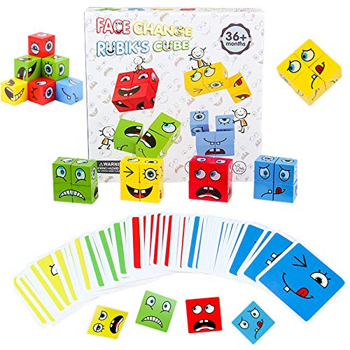 Wooden Expression Puzzle Building Blocks,Face-Changing Cube Building Blocks,Emoji Matching Game for Logical Thinking Training Brain Toy for Parent-Child Interaction Toy Ages 3 Years and Up