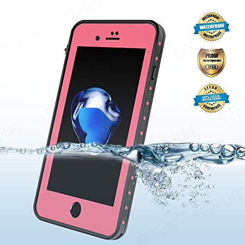 Effun iPhone 8 Plus/iPhone 7 Plus Waterproof Case, Dottie Style IP68 Certified Underwater Cover Shock/Dirt/Snow Proof Case with PH Test Paper, Stylus Pen and Floating Strap Pink Version