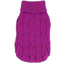 Twisted Knit Ribbed Cuff Pet Warm Apparel Sweater XXS Fuchsia