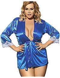 Women Sexy Lingerie Babydoll Plus Size Long sleeve Smooth Sleepwear