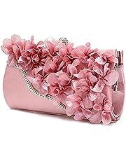 Schoudertas dames clutch dames satijn clutch tas bloem avondfeest bruiloft portemonnee ketting schouder handtas
