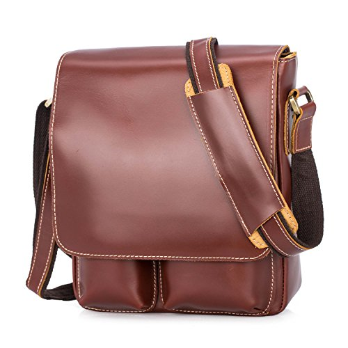 BAIGIO Leather Crossbody Messenger Bag Casual Flap-over Satchel Shoulder Handbag (Reddish Brown) (Classic Mini Satchel)