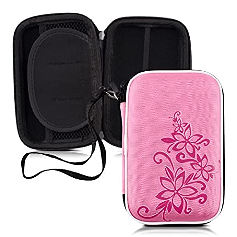 kwmobile Sturdy Hardcase Bag Design flowers tio swirl for External hard drive (2,5