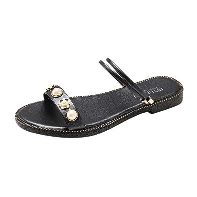 8456299afb022 Lolittas Summer Diamante Sandals for Women,Black Beach Flat Platform  Strappy Open Toe Jewelled Evening