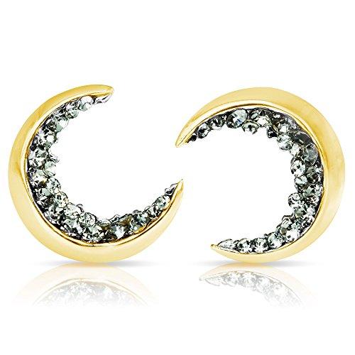 ONDAISY 20G Black Cz Boho Gypsy Planet Half Sun Crescent Sailor Luna Moon Ear Studs Piercing Earrings