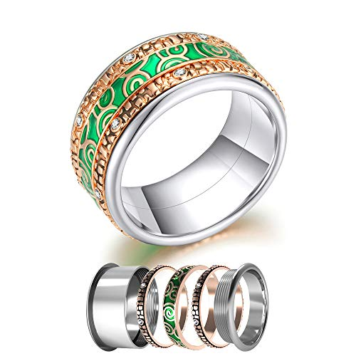 Floya Minimalist Boho Chic Bands Combination Crystal Enamel Leaves Filigree Ring Size 6 7 8 9 10