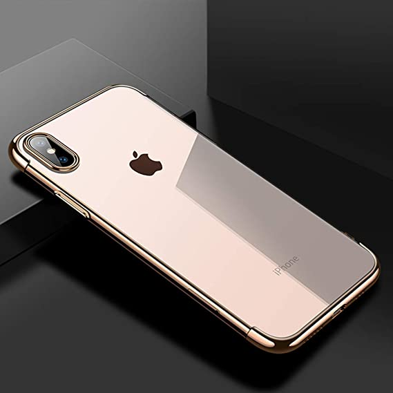 new product b5b95 9a511 Cafele soft TPU case for iPhone X cases ultra thin transparent plating  shining case for iPhone X Mixed silicon cover (Gold)