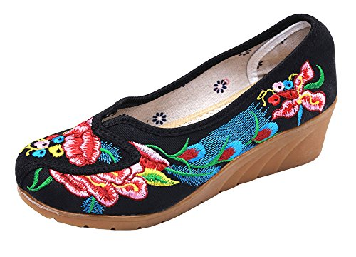 AvaCostume Womens Retro Embroidery Round Toe Slip-on Platform Wedges Black
