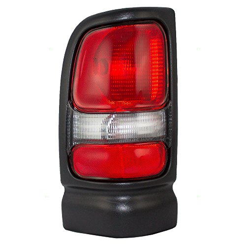 Drivers Taillight Tail Lamp with Black Trim and Smoked Back-Up Lens Replacement for Dodge Pickup Truck 55055265AC ()